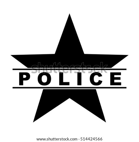 black and white police star symbol text