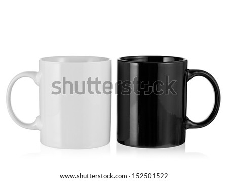 Black and white porcelain coffee cup - stock photo
