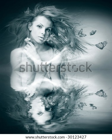 black and white Portrait beautiful young woman with butterfly - stock photo