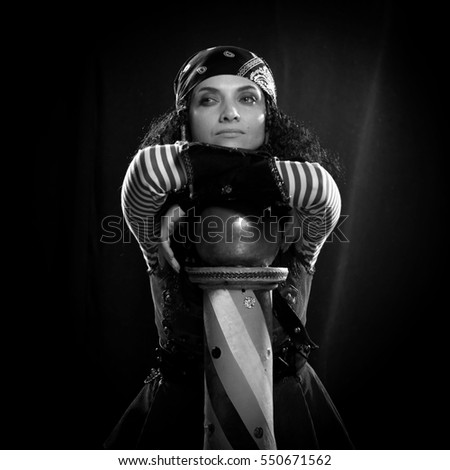 black and white portrait of a actress woman in a pirate costume on a black background  sc 1 st  Shutterstock & Black White Portrait Actress Woman Pirate Stock Photo (Royalty Free ...