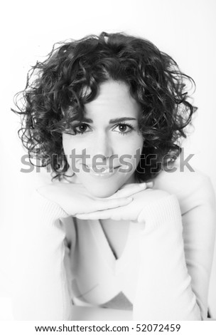 Black and white portrait of a pretty young woman - stock photo