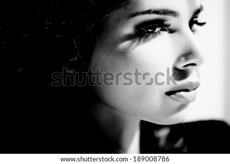 black and white portrait of a woman - stock photo