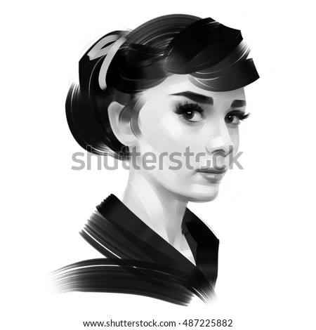 Black and white portrait of Audrey Hepburn isolated on a white background.