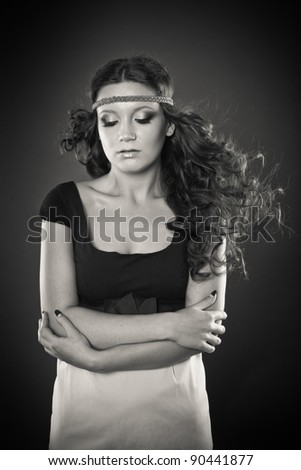 Black and white portrait of girl with flying hair, European, White, Caucasian - stock photo