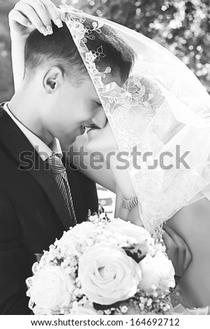 Black and white portrait of kissing newly married couple under a veil - stock photo