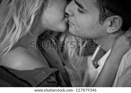 Black-and-white portrait of men and women - stock photo
