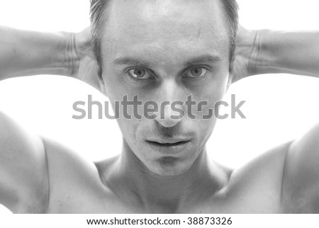 Black-and-white portrait of muscular man isolated on white - stock photo