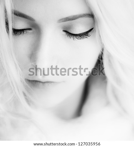 black and white portrait of the beautiful girl close up - stock photo