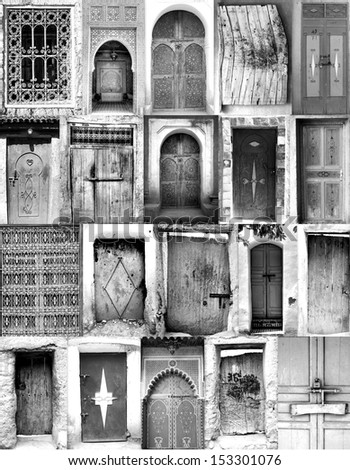 black and white poster from old moroccan doorways - stock photo
