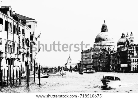 Black and white poster venice