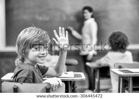Black and white primary school indoor scene. - stock photo