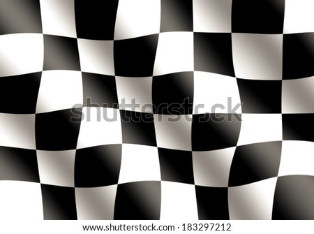 Black and White Racing Flag Waving - stock photo