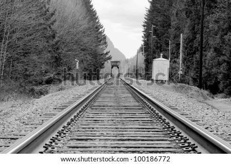 black and white railway tracks bridge - stock photo