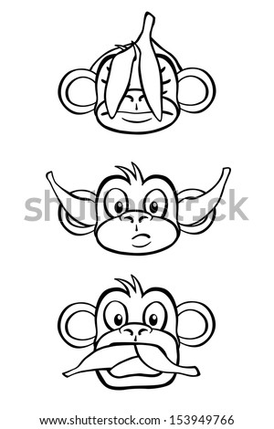 Black and white rendition of the three wise monkeys. - stock photo