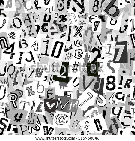 Black and white repeating newsprint letters wallpaper background - stock photo
