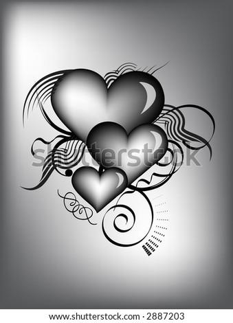 black and white retro hearts - stock photo