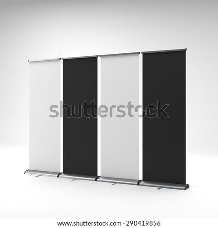 black and white rollups or banners - stock photo