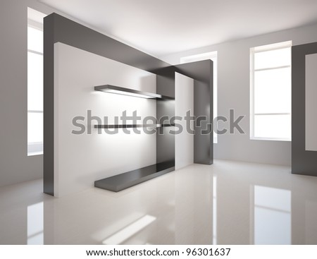 black and white room - stock photo