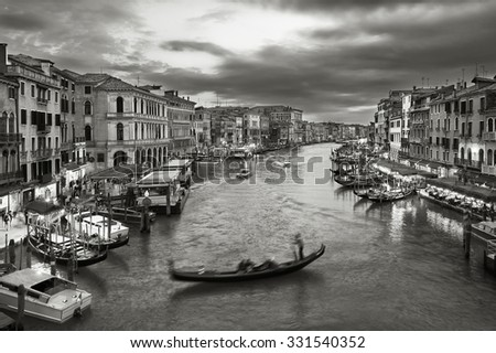 Black and white scene of Grand Canal of Venice, Italy  - stock photo
