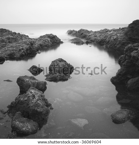 black and white sea landscape - stock photo
