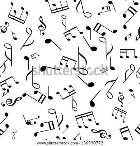 black and white seamless music texture