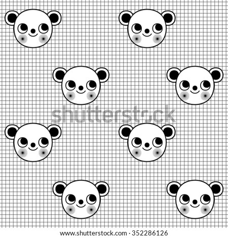 Black and white seamless pattern with cute monkey character on grid background. Wrapping paper with 2016 New Year's symbol - Monkey (raster version) - stock photo