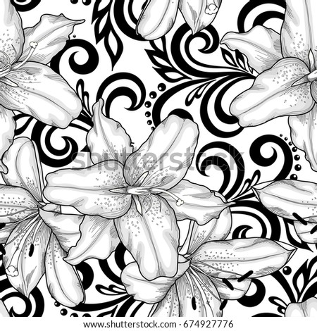 Black And White Seamless Pattern With Lilies Flowers Abstract Floral Swirls Design Greeting Card
