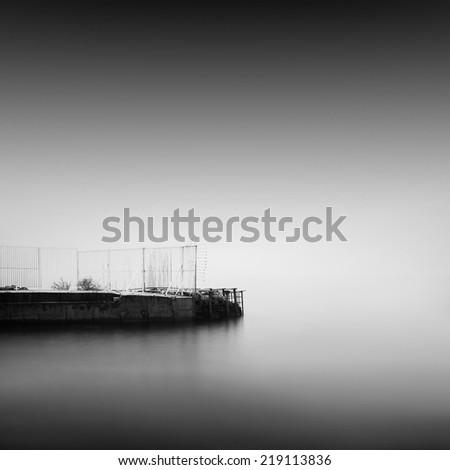 Black and white seascape. Daytime long exposure shot. Odessa, Ukraine - stock photo