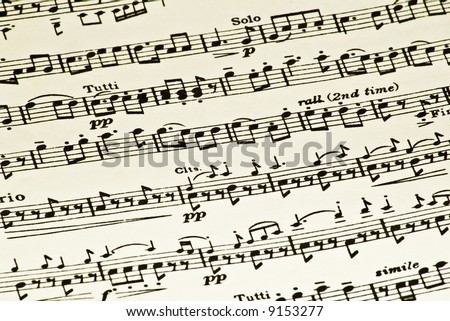Black and white sheet music background