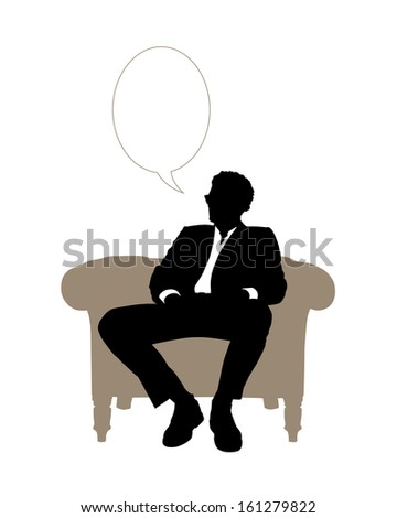 black and white silhouette of a young handsome businessman seated in beige classical armchair speaking about his business, a vacant text bubble above him - stock photo