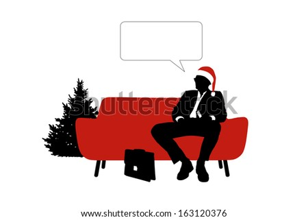 black and white silhouette of a young handsome businessman seated on a red sofa in a red christmas hat, a vacant text bubble above him - stock photo