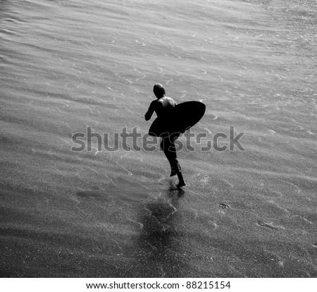Black and White Silhouette  of Wave Boarder in Surf Newport Beach California