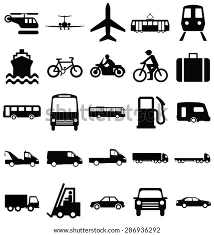 Black and white silhouette transport and travel related graphics collection isolated on white background - stock photo