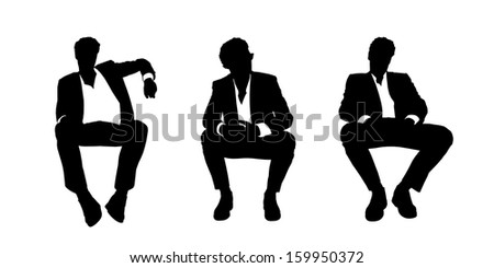 black and white silhouettes of a young handsome businessman seated in a lounge chair in different postures - stock photo