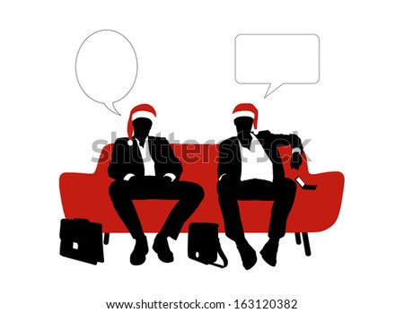 black and white silhouettes of two young handsome businessmen seated on a red sofa in red christmas hats and speaking, a vacant text bubbles above them - stock photo