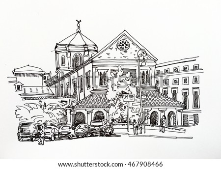 black and white sketch drawing of Rome cityscape, Italy old historical building