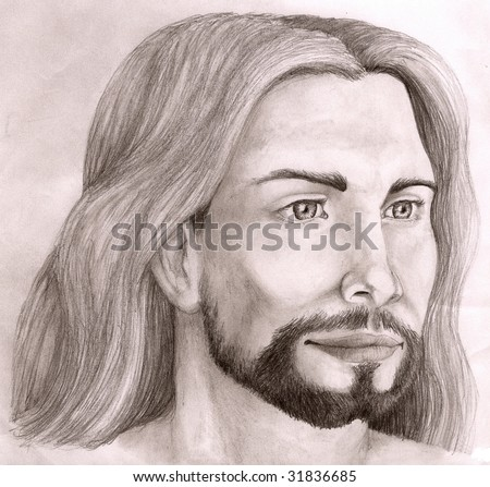 Black and white sketch of Jesus Christ, looking to the left side - stock photo
