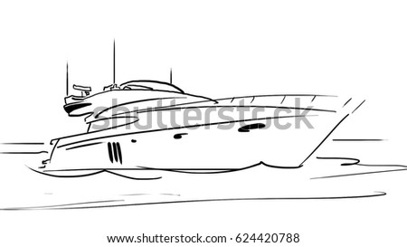 Black And White Sketch Of The Yacht On Water Simple Drawing At Background