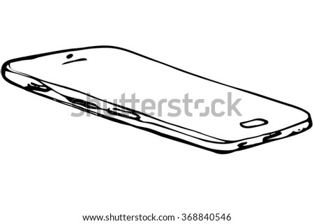 black and white sketch of touchscreen mobile phone - stock photo