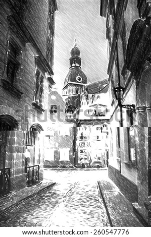 Black and white sketch sketches recognizable places in Europe. Vintage retro travel image of a narrow medieval street in old town Riga - stock photo