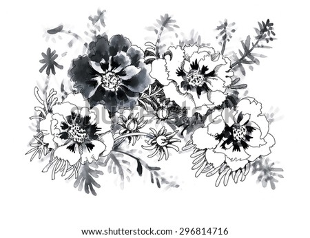 Black and white sketch with garden flowers - stock photo