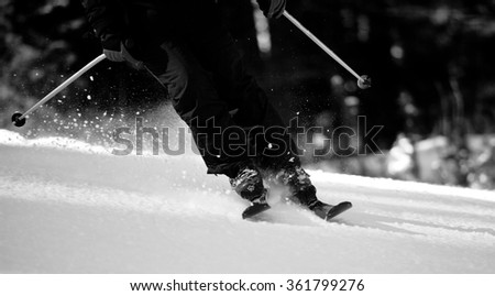 black and white ski sport details, snow sports panoramic landscape  - stock photo