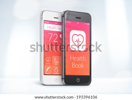 Black and white smartphones with health care book app on the screen are close to each other in half turn and rotated at a slight angle.  - stock photo