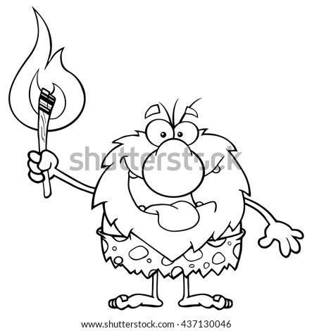 Black And White Smiling Male Caveman Cartoon Mascot Character Holding Up A Fiery Torch. Raster Illustration Isolated On White Background - stock photo