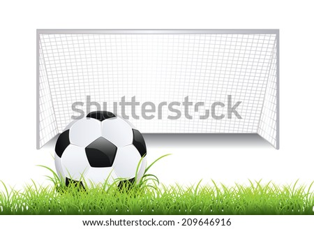 Black and white soccer ball and soccer goal.