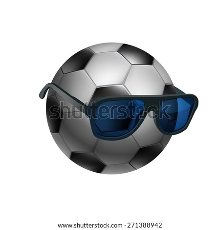 Black and white soccer ball wearing sunglasses - stock photo