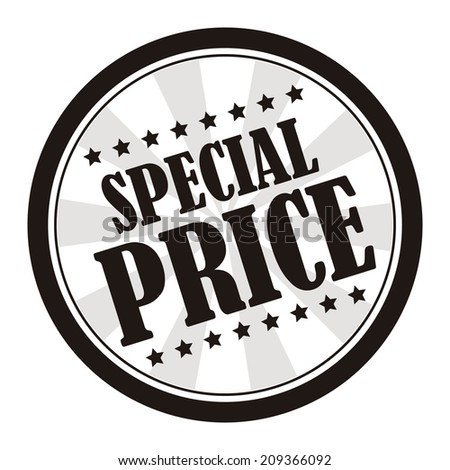 Black and White Special Price on Vintage Badge, Icon , Sticker Isolated on White - stock photo