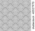 Black and white square seamless repeat design with overlap pattern - stock photo