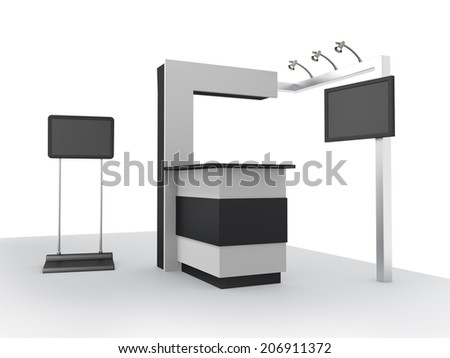 black and white stall or booth with tv screen in a trade show. 3d render - stock photo