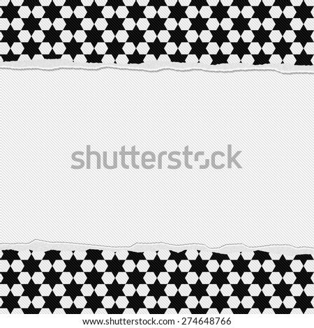 Black and White Star Frame with Torn Background with center for copy-space, Classic Torn Star Frame - stock photo